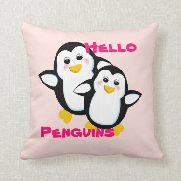Cute Hello Penguins Picture Pillows
