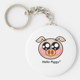 Cute Hello Piggy Basic Round Button Keychain