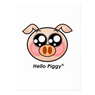 Cute Hello Piggy Postcard