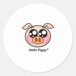 Cute Hello Piggy Round Sticker