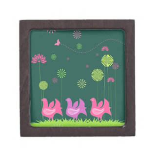 "Cute hen and flowers Gift Box Small (2"" x 2"")"