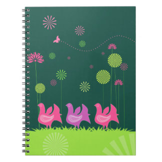 Cute hen and flowers Notebook