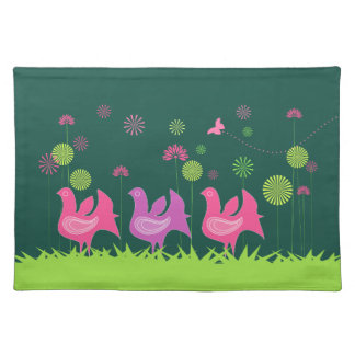 Cute hen and flowers placemat