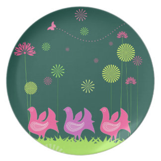 Cute hen and flowers  Plate