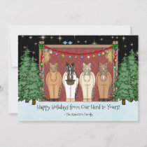 Cute Herd of Horses Happy Holidays Horse Christmas Holiday Card
