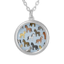 Cute Herd of Horses Silver Plated Necklace