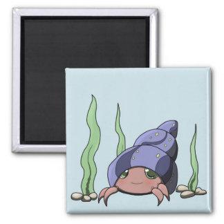 Cute hermit crab 2 inch square magnet
