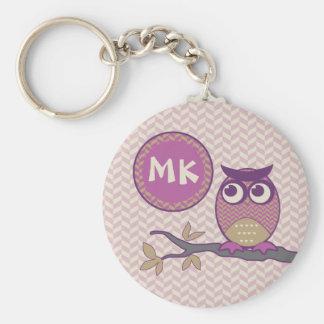 Cute Herringbone Owl Trendy Orchid Purple Moon Basic Round Button Keychain