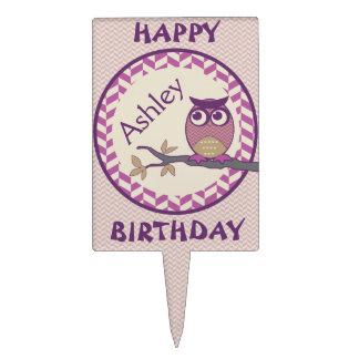 Cute Herringbone Owl Trendy Orchid Purple Moon Cake Topper