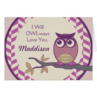 Cute Herringbone Owl Trendy Orchid Purple Moon Greeting Cards