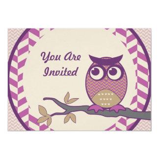 Cute Herringbone Owl Trendy Orchid Purple Moon Card