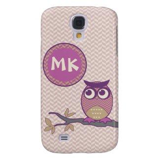 Cute Herringbone Owl Trendy Orchid Purple Moon Galaxy S4 Case