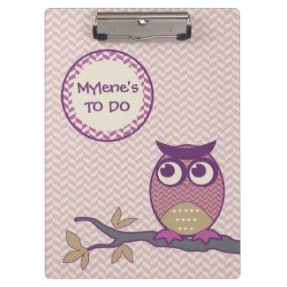 Cute Herringbone Owl Trendy Orchid Purple Moon Clipboards