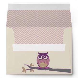 Cute Herringbone Owl Trendy Orchid Purple Moon Envelope