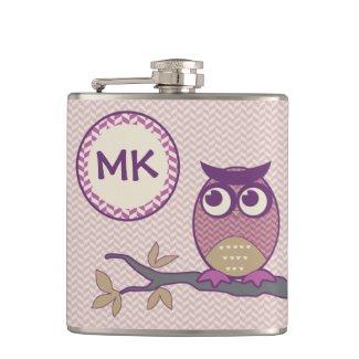 Cute Herringbone Owl Trendy Orchid Purple Moon Hip Flasks