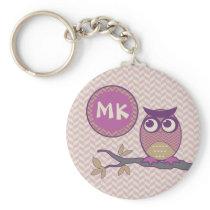 Cute Herringbone Owl Trendy Orchid Purple Moon Keychain