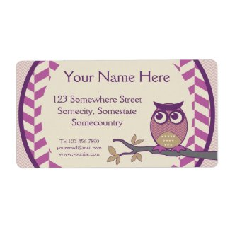 Cute Herringbone Owl Trendy Orchid Purple Moon Personalized Shipping Labels