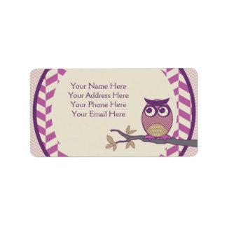 Cute Herringbone Owl Trendy Orchid Purple Moon Label