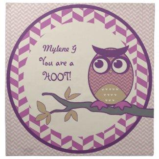 Cute Herringbone Owl Trendy Orchid Purple Moon Printed Napkin