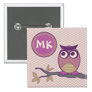 Cute Herringbone Owl Trendy Orchid Purple Moon Pinback Button