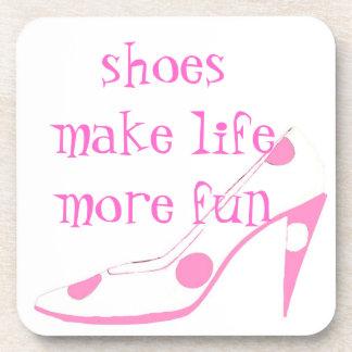 Cute High Heel Shoe pink Beverage Coaster