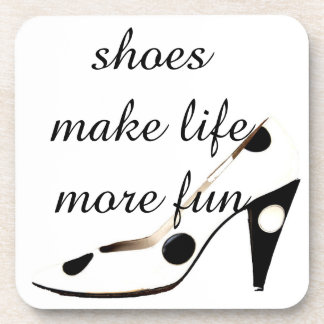 Cute High Heel Shoes black and white Drink Coaster