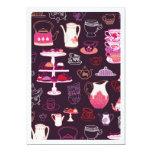 Cute high tea coffee cupcake pattern invitation