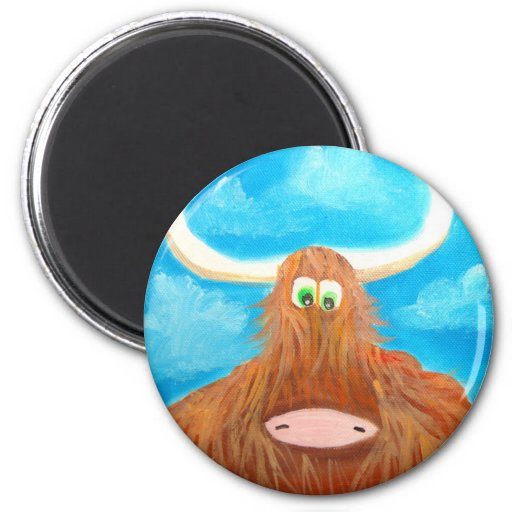 CUTE HIGHLAND COW 2 INCH ROUND MAGNET