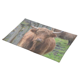 Cute Highland Cow by Fence Placemats
