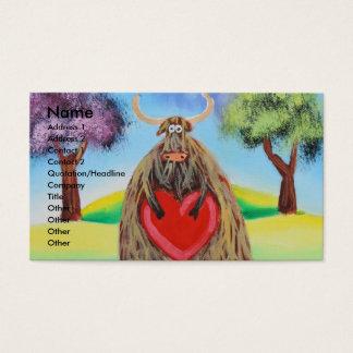 Cute Highland cow with a heart Gordon Bruce Business Card