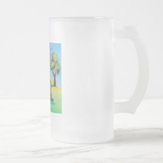 Cute Highland cow with a heart Gordon Bruce Frosted Glass Beer Mug