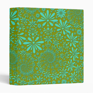 Cute Hip Flowers Pattern in Green 3 Ring Binder