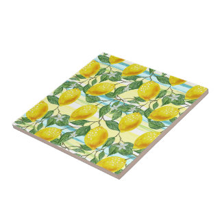 Cute Hip Tropical Summer Lemon Fruit Pattern Ceramic Tile