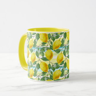 Cute Hip Tropical Summer Lemon Fruit Pattern Mug