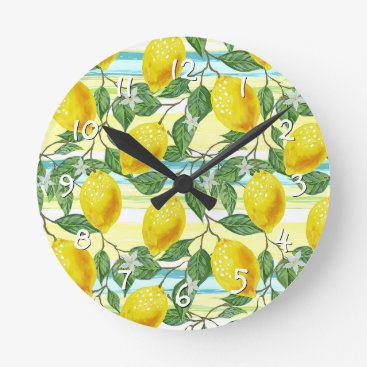 Hawaiian Themed Cute Hip Tropical Summer Lemon Fruit Pattern Round Clock