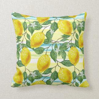 Cute Hip Tropical Summer Lemon Fruit Pattern Throw Pillow