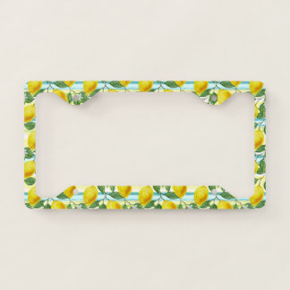 Cute Hip Tropical Summer Lemons Fruit Pattern License Plate Frame