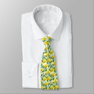 Cute Hip Tropical Summer Lemons Fruit Pattern Neck Tie