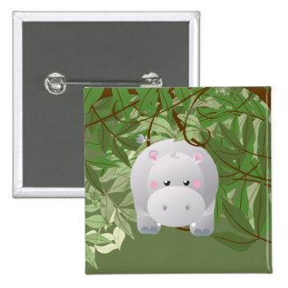 Cute Hipo Jungle  Animals Party Button