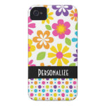 cute hippie colorful floral pattern Case-Mate iPhone 4 cases