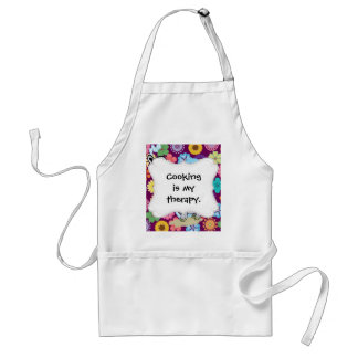 Cute Hippie Elephant with Colorful Flowers Adult Apron