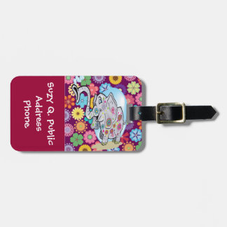 Cute Hippie Elephant with Colorful Flowers Bag Tag