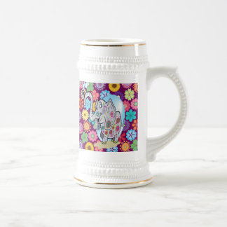 Cute Hippie Elephant with Colorful Flowers Beer Stein