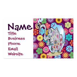 Cute Hippie Elephant with Colorful Flowers Business Card