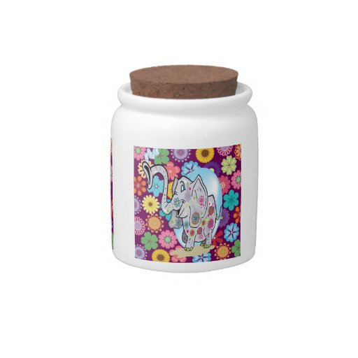Cute Hippie Elephant with Colorful Flowers Candy Dishes