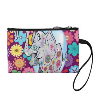 Cute Hippie Elephant with Colorful Flowers Coin Purse