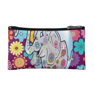 Cute Hippie Elephant with Colorful Flowers Cosmetic Bag
