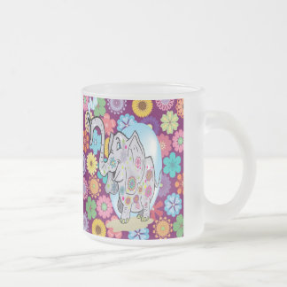 Cute Hippie Elephant with Colorful Flowers Frosted Glass Coffee Mug