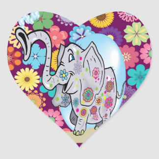 Cute Hippie Elephant with Colorful Flowers Heart Sticker