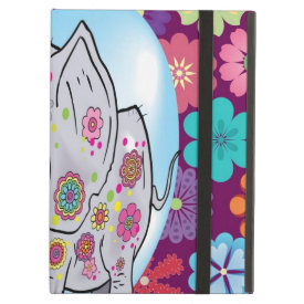 Cute Hippie Elephant with Colorful Flowers iPad Covers